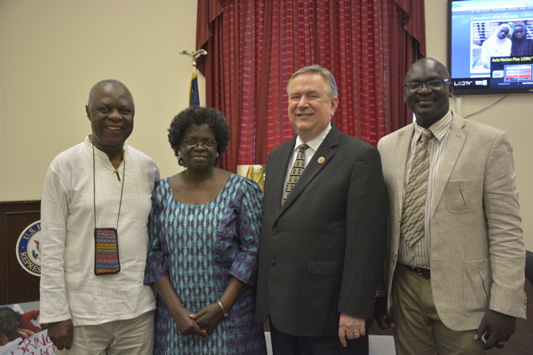 Congressman Stockman with Emmanuel Ogebe, a Nigeria expert, and his parents.