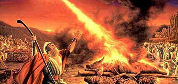 God answers Elijah's prayers on Mt. Carmel in a battle against 450 prophets of the pagan sun god Baal.