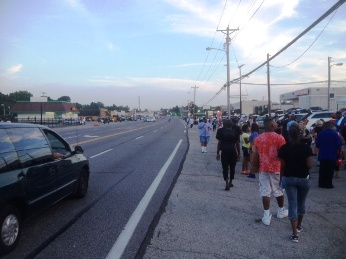 West Florissant Avenue in Ferguson, Missouri, Thursday evening