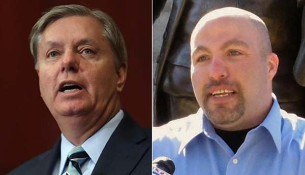 GOP South Carolina Sen. Lindsey Graham, left, and Republican Senate candidate Dave Feliciano, right