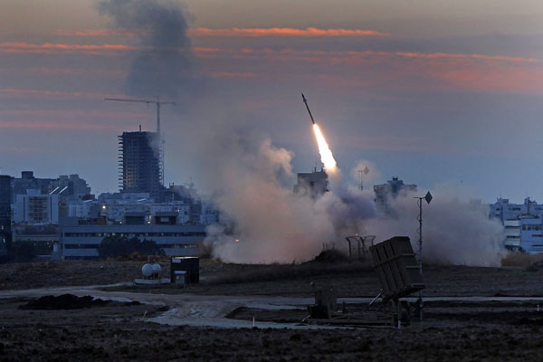 Israel's Iron Dome missile-defense system is fired to intercept enemy rockets