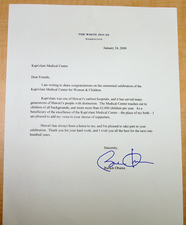 A letter purportedly signed by Barack Obama indicating the president's claim he was born at the Kapiolani Center for Women and Children in Honolulu.