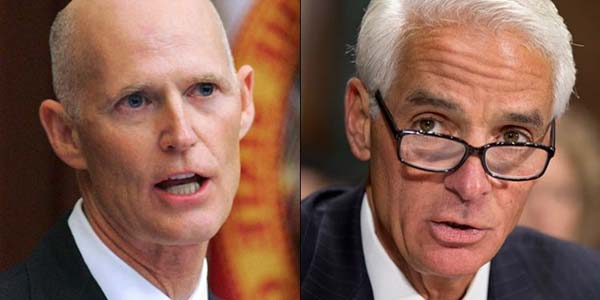 Incumbent GOP Gov. Rick Scott and Democratic challenger former Gov. Charlie Crist