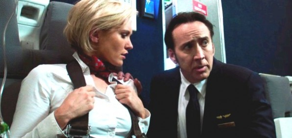 "Nicky Whelan and Nicolas Cage in ""Left Behind"""