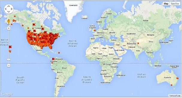Map showing 9/11 Day of Prayer participation points