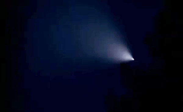 A mysterious light photographed over Northern California before sunrise on Sept. 12. 2014