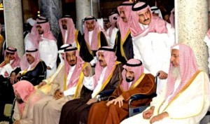 Members of the Saudi royal family attend the funeral of Crown Prince Nayef bin Abdul Aziz in the Grand Mosque, in Mecca, on June 17, 2012.