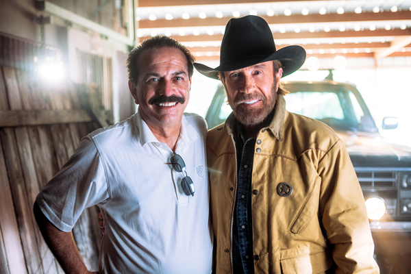WND Editor and CEO Joseph Farah with action star Chuck Norris at Norris' Houston ranch in October 2014