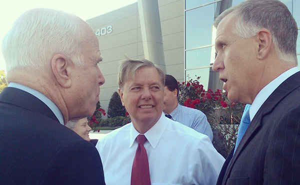 Thom Tillis, right, with Lindsey Graham (center) and John McCain at a campaign event in North Carolina. Tillis, the current state House speaker, is running for U.S. Senate against incumbent Democrat Kay Hagan.