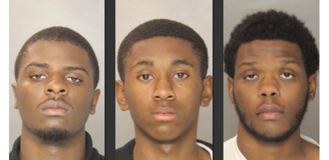 Three of the four robbery suspects, L to R: 17-year-old Jamani Ellison, 15-year-old Jyair Leonard and 17-year-old Derek Anderson.