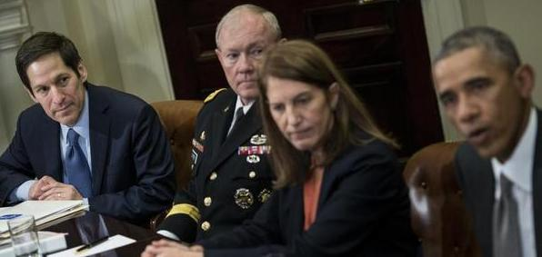 Dr. Tom Frieden, director of the Centers for Disease Control, Chairman of the Joint Chiefs of Staff Martin Dempsey, Health and Human Services Secretary Sylvia Burwell and President Obama