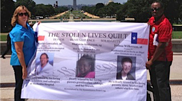 Laura Wilkerson of Texas and Jamiel Shaw of California hold banner showing the pictures of Americans who were killed by illegal aliens. Their each lost children to the same fate.