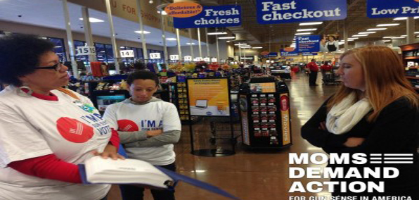 A Kroger store manager in Ohio refuses to accept petitions from a representative of Moms Demand Action on Oct. 4.