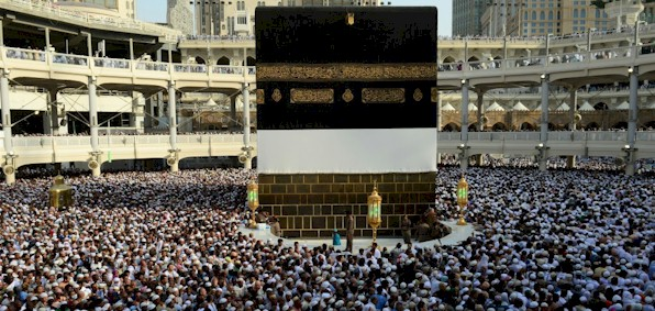 The Hajj draws hundreds of thousands at a time to Mecca's Grand Mosque and the Kaaba stone.