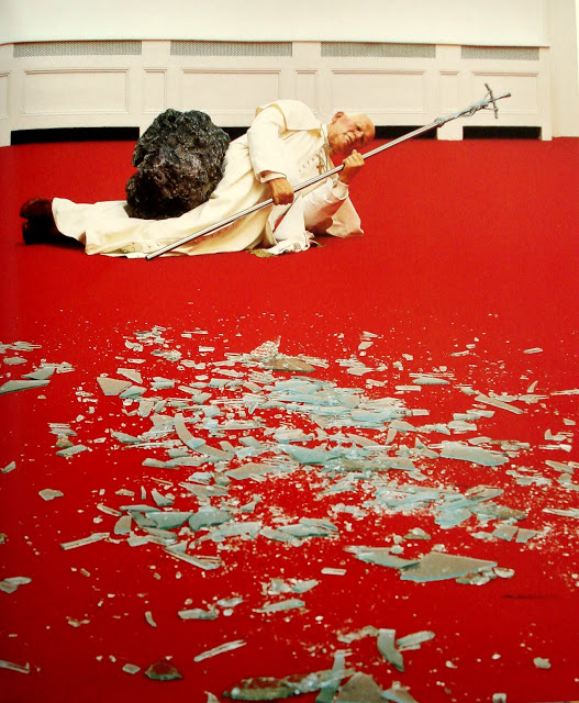 """Pope John Paul II Struck Down by Meteorite,"" by Maurizio Cattelan"