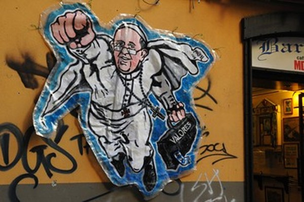 SuperPope grafitti originally near Vatican, by MauPal