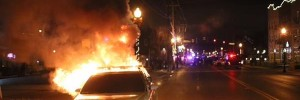 Second police car burns in Ferguson after decision Monday night