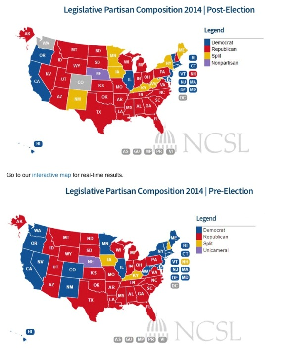 MID TERM ELECTIONS 2014 partisan control STATE LEGISLATIVE HOUSES Nov 5 2014