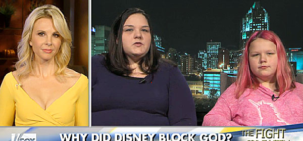 "Elisabeth Hasselbeck of Fox News interviews Julie and Lilly Anderson about Disney's blocking of ""God."""