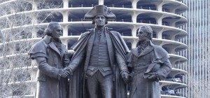 Statue of Robert Morris, left, George Washington, center, and Jewish financier Haym Solomon, right, in Chicago