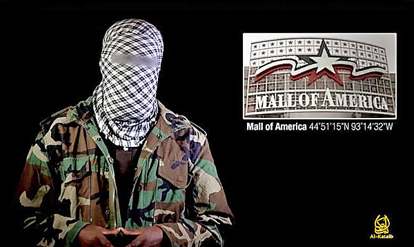 Al-Shabab terrorist on propaganda video seeking to inspire lone-wolf attacks on malls, including the Mall of America in Minnesota.