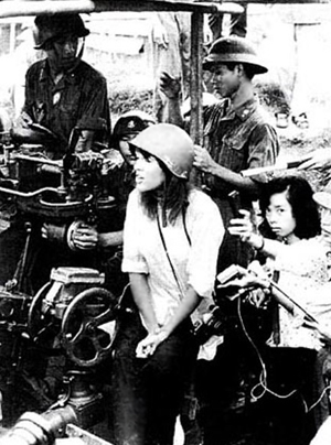 "Actress Jane Fonda cozies up to North Vietnamese, singing anti-war songs and encouraging Viet Cong soldiers to fight ""American imperialists"""