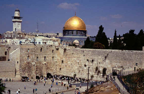 "View of the western ""Wailing Wall"" with Dome of the Rock in the background, Jerusalem, Israel."