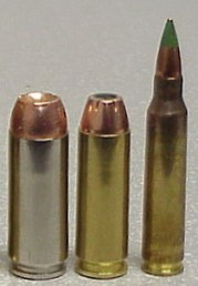 By using a smaller, lighter weight bullet, the 5.56 NATO M855 round at right generates much higher muzzle velocities with less surface area to resist penetration than the powerful .50AE (L), and .44 AutoMag (c) handgun rounds.