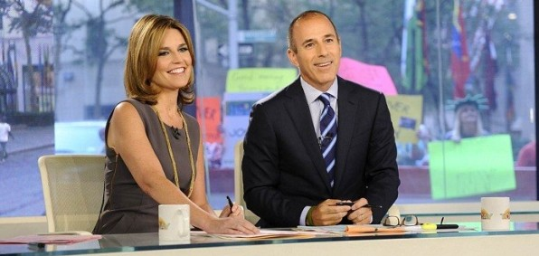 "Savannah Guthrie and Matt Lauer co-host the ""Today"" show."