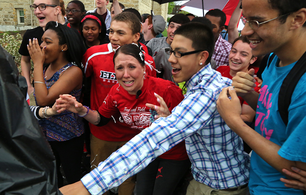 Stacie Starr reacts to winning the Top Teacher contest (Bruce Bishop, Chronicle-Telegram