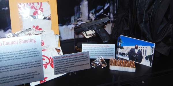 "Portion of ""Domestic Terrorism and Hate Crimes"" exhibit at Crime Museum"