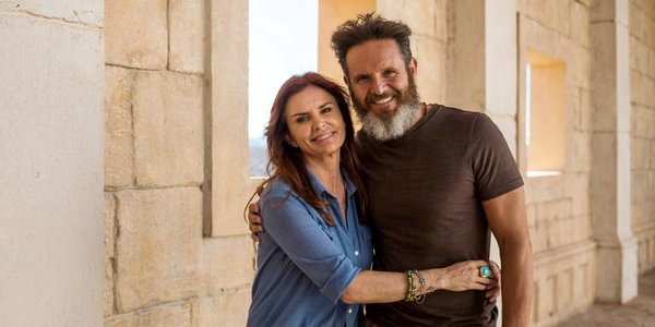 Husband-and-wife team Roma Downey, left, and Mark Burnett, right