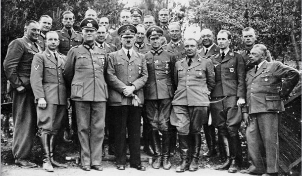 Adolf Hitler and staff and Wolfsschanze