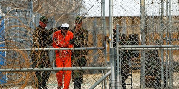 Detainees at Guantanamo Bay, Cuba.