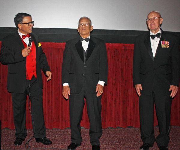 """Ride the Thunder"" Executive Producer Richard Botkin (left) introduces Le Bah Binh and Gerry Turley at film premiere, March 27, 2015 (WNDphoto/Chelsea Schilling)"