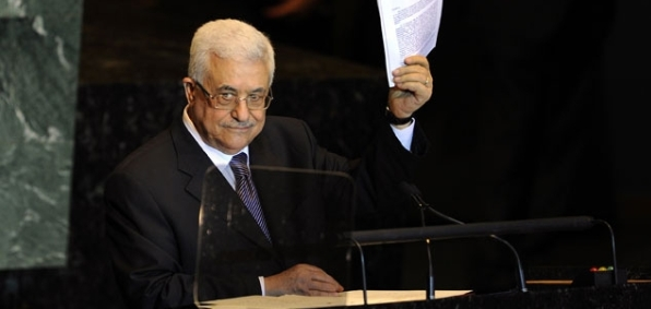 President Abbas holds Palestine's application for U.N. membership in a Septemeber 2011 statement to the U.N. General Assembly in New York