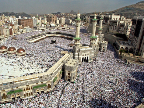 Hundreds of thousands of Muslims perform Friday prayers at the Grand Mosque in Mecca, Saudi Arabia.