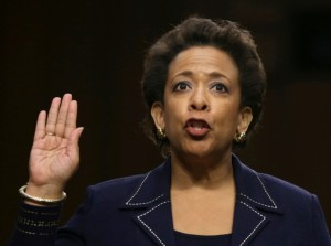 Loretta Lynch is sworn in before testifing during her confirmation hearing before the Senate Judiciary Committee Jan. 28, 2015.