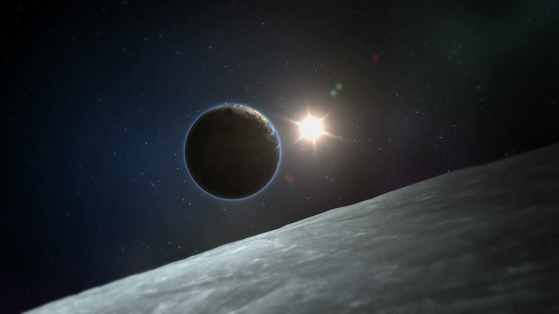 Фото луны и солнца космос
