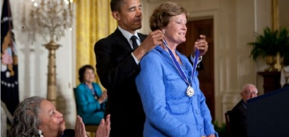 Morrison, bottom left in this White House photo, looks on while President Obama presents Presidential Medal of Freedom to former University of Tennessee basketball coach Pat Summitt.