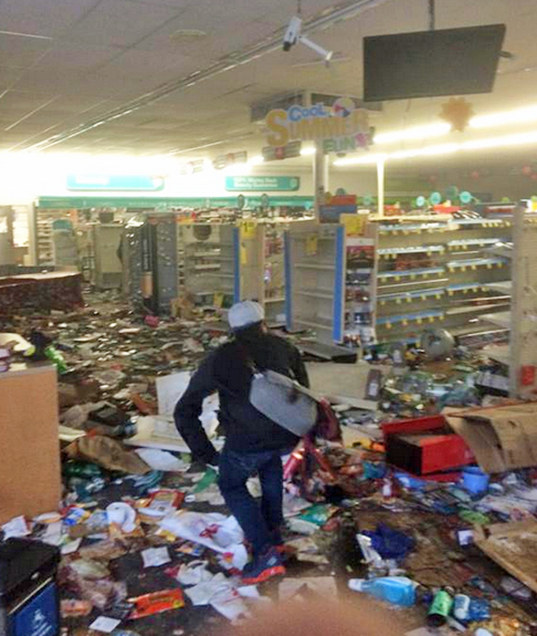 Twitter user Ben Jacobs posted this photo of a Baltimore CVS store that had been looted on April 27