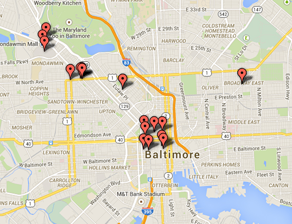 Allout War In Baltimore - Map of riots in us