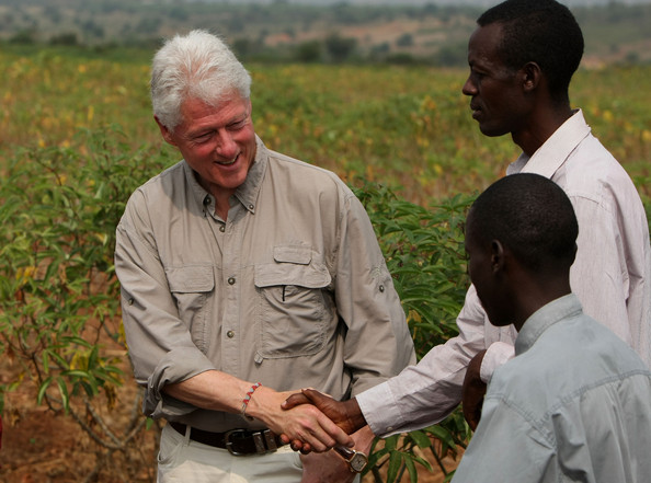Bill Clinton visiting a Clinton Foundation project in Africa.