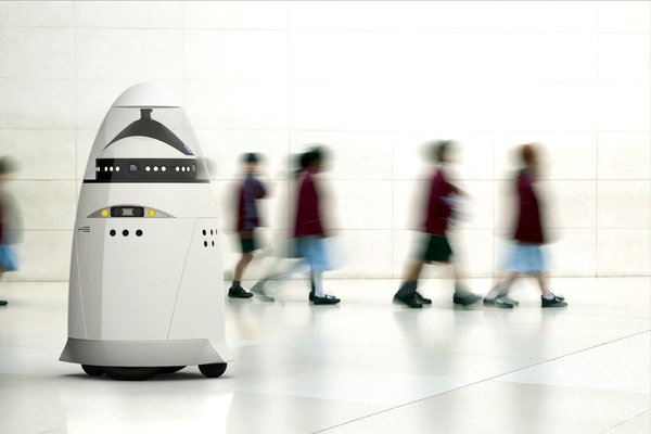 The new K5 robot is capable of acting as a security guard at airports and other high-traffic areas.