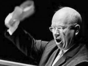Soviet Premier Nikita Khrushchev bangs his shoe at a U.N. podium in 1960