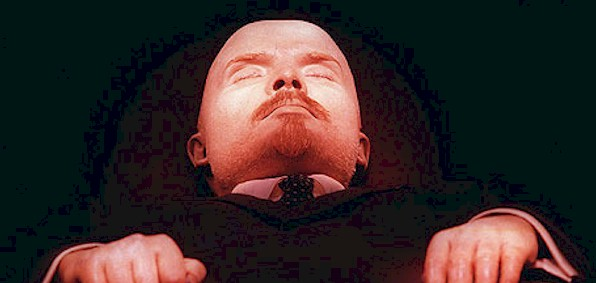 Lenin's mummified body lies in a mausoleum in Red Square in Moscow