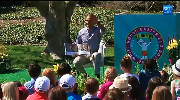 President Obama tries to calm children as bees swarm during the annual White House Easter Egg Roll on Monday, April 6, 2015.