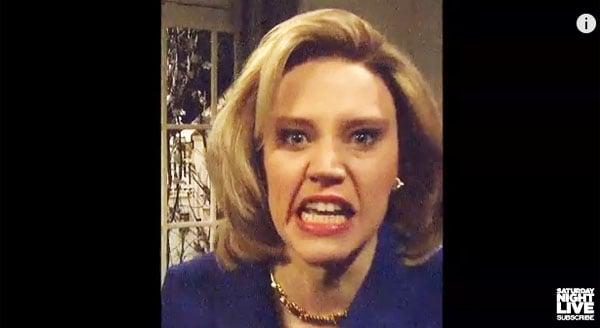 "Kate McKinnon portrays Hillary Clinton on NBC's ""Saturday Night Live"" April 11, 2015"