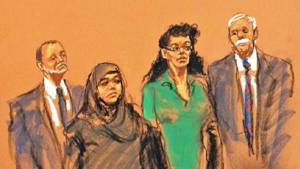 Courtroom sketch of Asia Siddiqui, left, and Noelle Velentzas