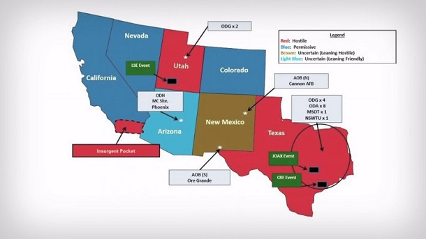 "Jade Helm map showing Texas, Utah and part of California as ""hostile"""